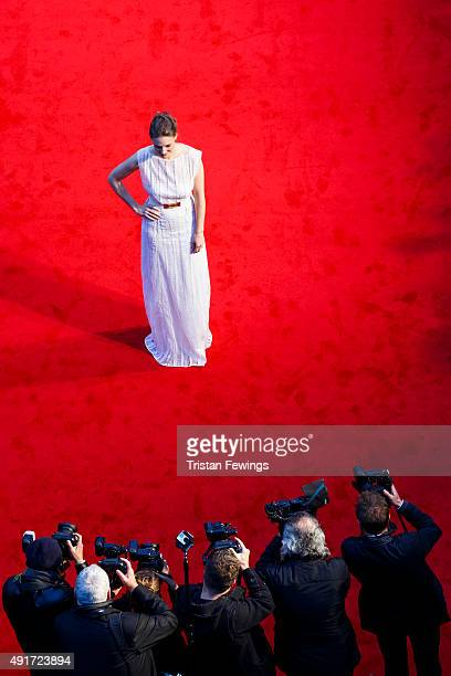 Romola Garai attends the 'Suffragette' premiere on the opening night gala of the BFI London Film Festival at Odeon Leicester Square on October 7 2015...