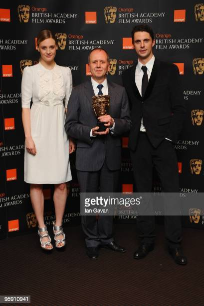 Romola Garai BAFTA Chairman David Parfitt and Matthew Goode attend The Orange British Academy Film Awards Nominations photocall at BAFTA Headquarters...