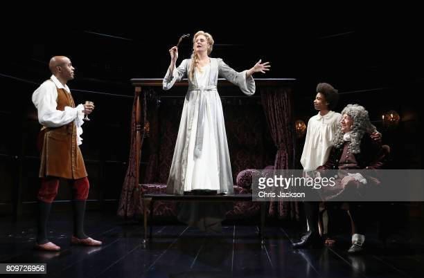 Romola Garai Chu Omambala Richard Hope and Mark Jones on stage during the 'Queen Anne' photocall at Theatre Royal on July 6 2017 in London England