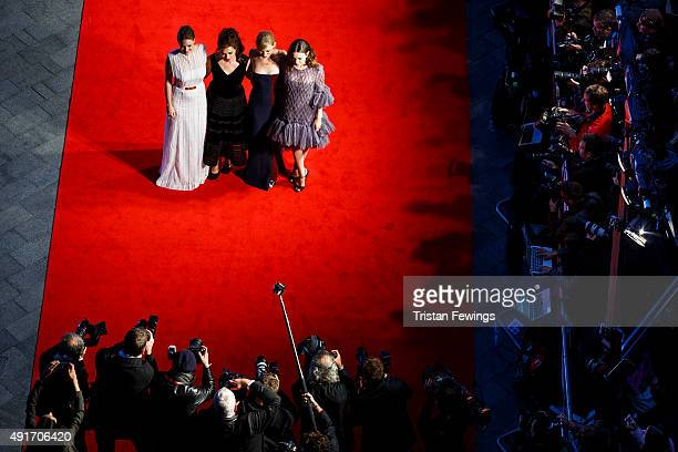Romola Garai Helena Bonham Carter AnneMarie Duff and Carey Mulligan attend the Suffragette premiere on the Opening Night Gala of the BFI London Film...