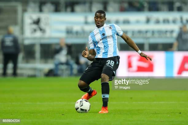 Romuald Lacazette of 1860 Munich controls the ball during the Second Bundesliga match between TSV 1860 Muenchen and FC Wuerzburger Kickers at Allianz...