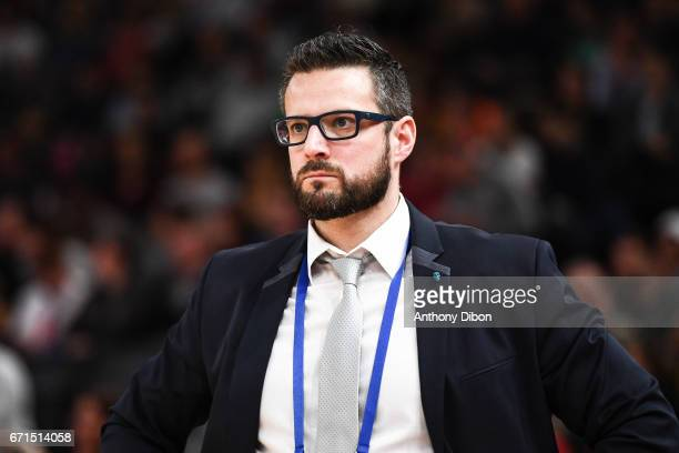 Romuald Yernaux coach of Charleville Mezieres during the women's Final of the French Cup between Charleville Mezieres and Bourges Basket at...