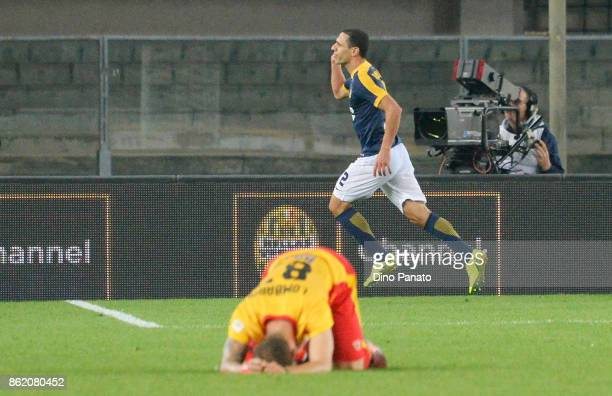 Romulo Caldeira of Hellas Verona FC celebrates after scoring his opening goalduring the Serie A match between Hellas Verona FC and Benevento Calcio...