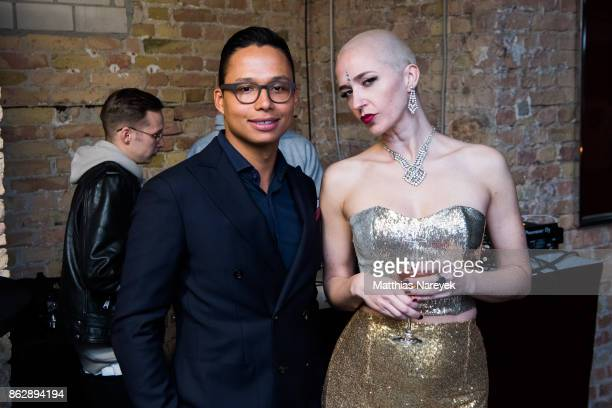 Romulo Kuranyi and Miss Natasha Enquist during Romulo's 'Farbenspiel' exhibition opening at Hotel Provocateur on October 18 2017 in Berlin Germany