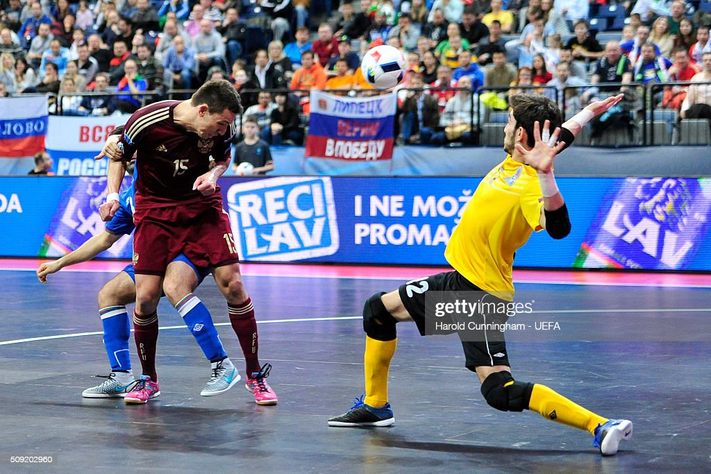 Romulo of Russia scores his team second goal during the UEFA Futsal EURO 2016 quarter final match between Russia and Azerbaijan at Arena Belgrade on February 9, 2016 in Belgrade, Serbia.