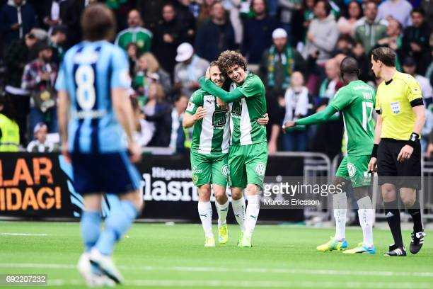 Romulo Pereira Pinto and Mats Solheim celebrates after scoring 11 during the Allsvenskan match between Hammarby IF and Djurgardens IF at Tele2 Arena...