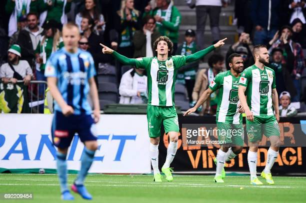 Romulo Pereira Pinto of Hammarby IF celebrates after scoring 11 during the Allsvenskan match between Hammarby IF and Djurgardens IF at Tele2 Arena on...