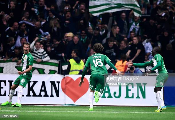 Romulo Pereira Pinto of Hammarby IF celebrates after scoring 21 during the Allsvenskan match between Hammarby IF and Djurgardens IF at Tele2 Arena on...