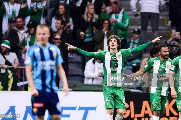 Romulo Pereira Pintoof Hammarby IF celebrates after scoring 11 during the Allsvenskan match between Hammarby IF and Djurgardens IF at Tele2 Arena on...