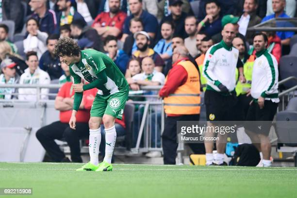 Romulo Pereira Pintoof Hammarby IF hurts his arm during the Allsvenskan match between Hammarby IF and Djurgardens IF at Tele2 Arena on June 4 2017 in...