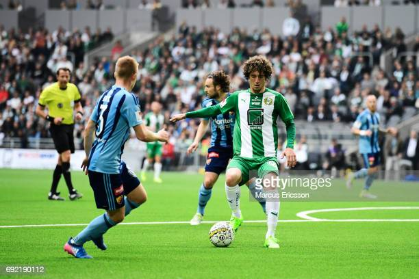 Romulo Pereira Pintoof Hammarby IF with the ball during the Allsvenskan match between Hammarby IF and Djurgardens IF at Tele2 Arena on June 4 2017 in...