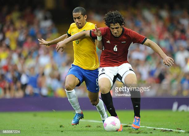 Romulu of Brazil and Ahmed Hegazi of Egypt during the Brazil vs Egypt Group C match in the Men's Soccer Competition as part of the 2012 London...
