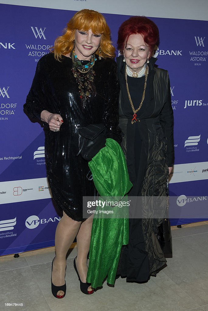 Romy Haag (L) and Laura Halding-Hoppenheit attend the 1st Charity Dinner by Federal Trust Fund Magnus Hirschfeld at Waldorf Astoria on May 25, 2013 in Berlin, Germany.