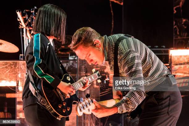 Romy Madley Croft and Oliver Sim of The xx perform at Champions Square on October 19 2017 in New Orleans Louisiana