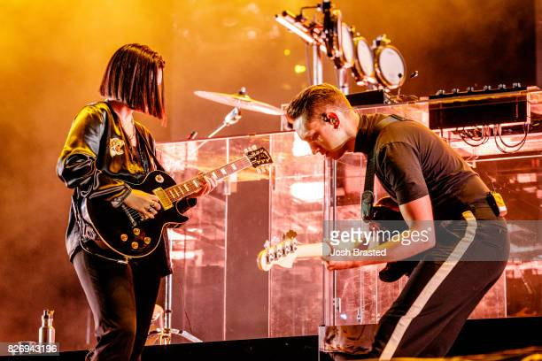 Romy Madley Croft and Oliver Sim of The XX perform at Lollapalooza 2017 at Grant Park on August 5 2017 in Chicago Illinois