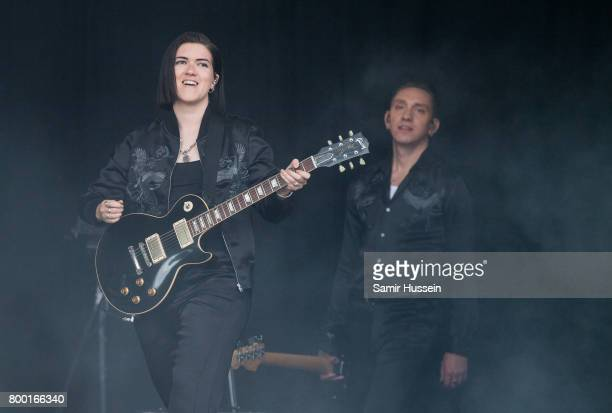 Romy Madley Croft and Oliver Sim of The XX perform on day 2 of the Glastonbury Festival 2017 at Worthy Farm Pilton on June 23 2017 in Glastonbury...