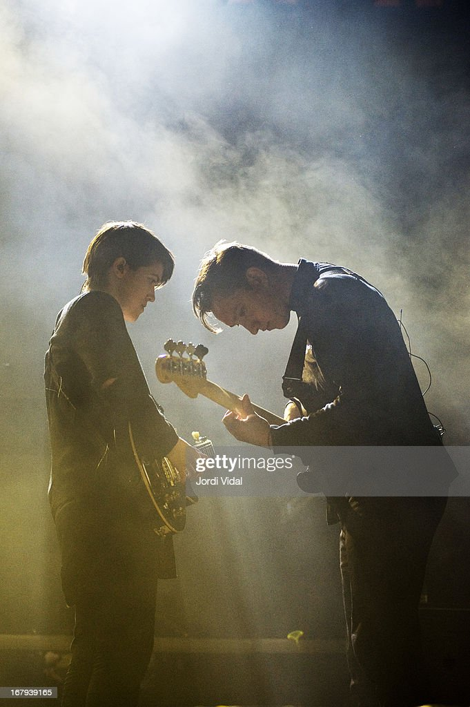Romy Madley Croft and Oliver Sim of The XX perform on stage at Poble Espanyol on May 2 2013 in Barcelona Spain