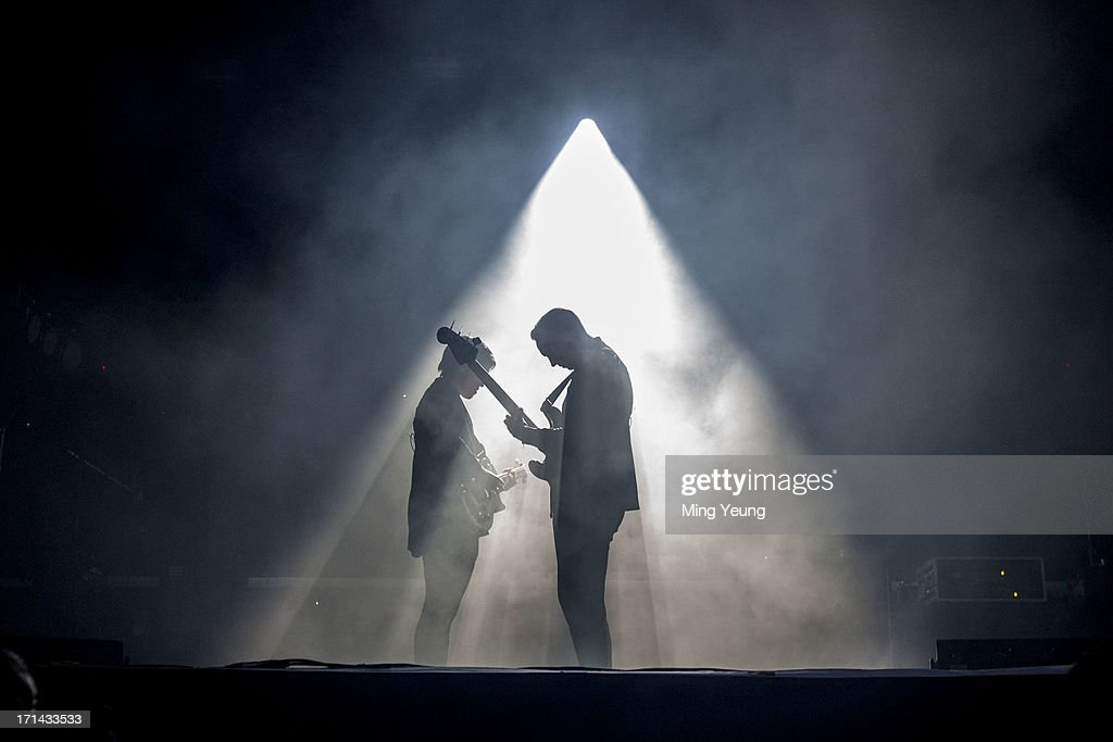 Romy Madley Croft and Oliver Sim perform at The Night and Day Festival Hatfield House on June 23, 2013 in Hatfield, England.