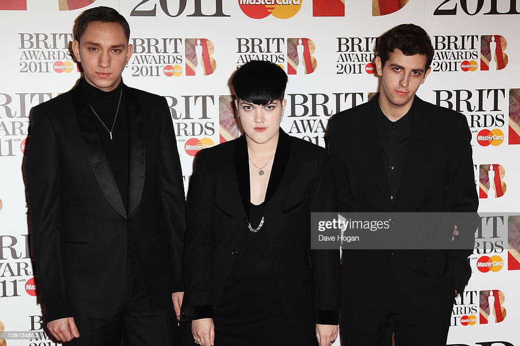 Romy Madley Croft Jamie Smith and Oliver Sim of The XX arrive on the red carpet for The BRIT Awards 2011 at the O2 Arena on February 15 2011 in...