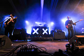 Romy Madley Croft Jamie Smith and Oliver Sim of The XX perform on stage during day two of Latitude Festival 2010 at Henham Park Estate on July 17...