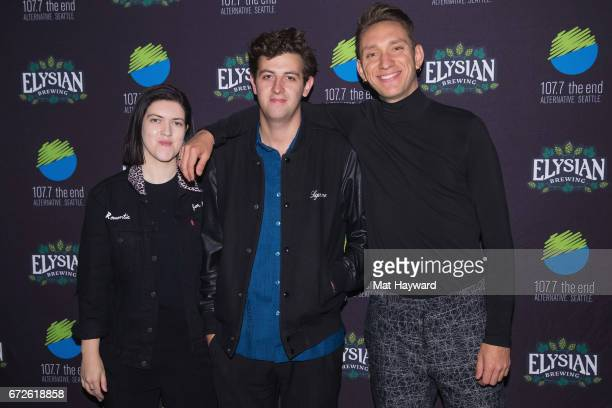 Romy Madley Croft Jamie Smith and Oliver Sim of The XX pose for a photo before performing on stage at WaMu Theatre on April 24 2017 in Seattle...