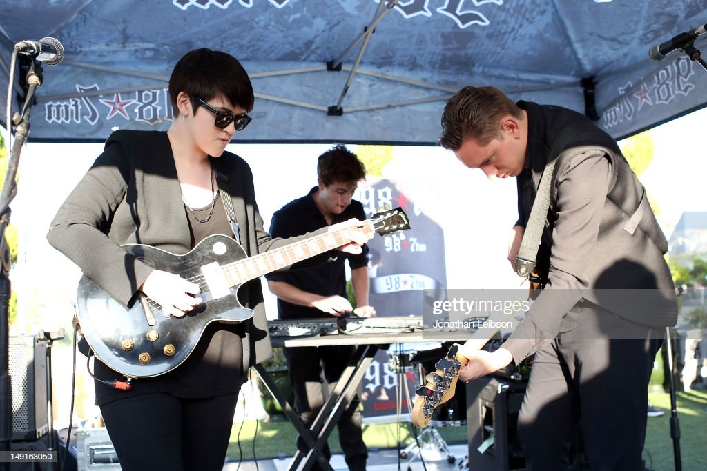 Romy Madley Croft, Jamie Smith and Oliver Sim perform at the 98.7 FM Penthouse Party Presents The xx Exclusive Live Performance at The Historic Hollywood Tower on July 23, 2012 in Hollywood, California.