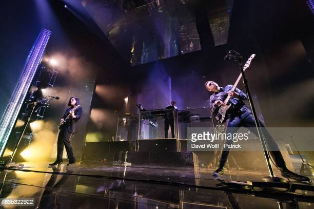 Romy Madley Croft Jamie XX and Oliver Sim from The XX perform at Le Zenith on February 14 2017 in Paris France