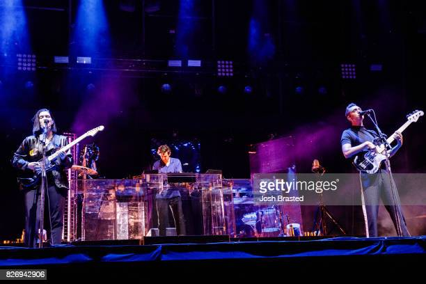 Romy Madley Croft Jamie XX and Oliver Sim of The XX perform at Lollapalooza 2017 at Grant Park on August 5 2017 in Chicago Illinois