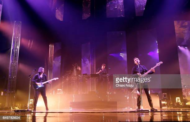Romy Madley Croft Jamie xx and Oliver Sim of The XX perform at the O2 Academy Brixton on March 8 2017 in London United Kingdom