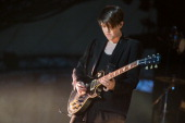 Romy Madley Croft of The XX performs on stage at The Eden Project on July 2 2013 in St Austell England