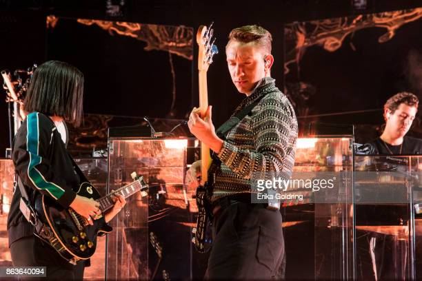 Romy Madley Croft Oliver Sim and Jamie Smith of The xx perform at Champions Square on October 19 2017 in New Orleans Louisiana