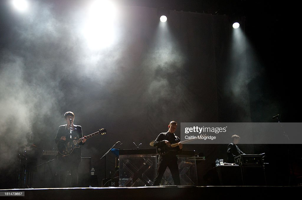 Romy Madley Croft, Oliver Sim and Jamie Smith of the XX perform on stage at Bestival at Robin Hill Country Park on September 7, 2012 in Newport, United Kingdom.
