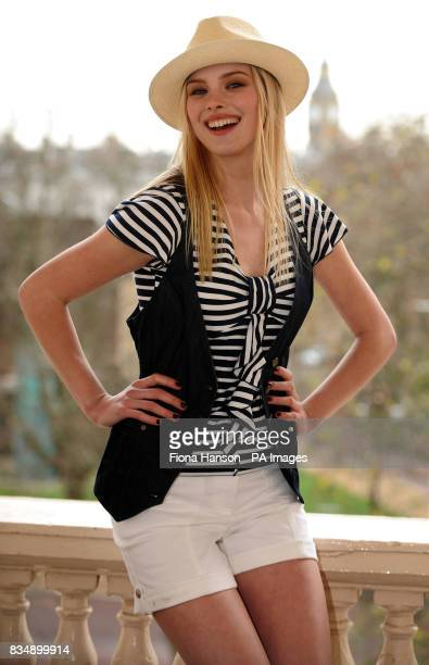 Romy models clothing from Marks and Spencer's Per Una Spring 2009 range in London The outfit consists of a Nautical striped top for 23 white Bali...