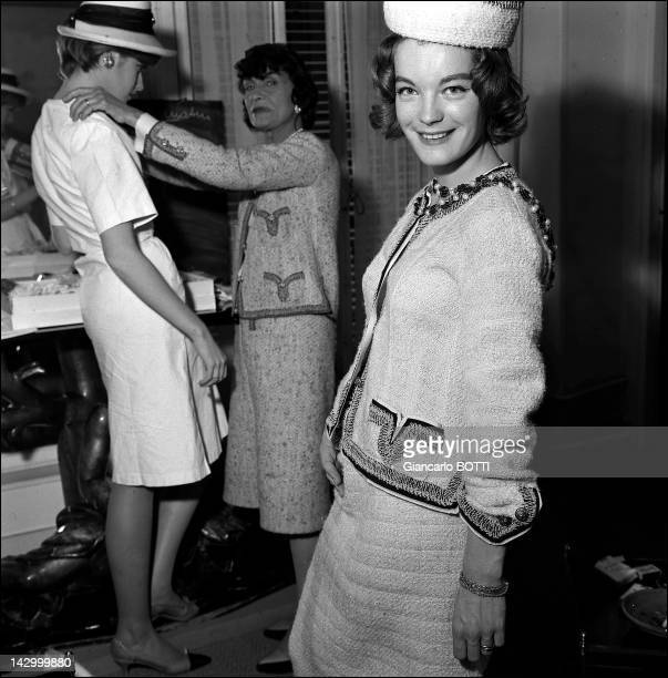 Romy Schneider at Coco Chanel studio in Cambon street in the 1960's in Paris France
