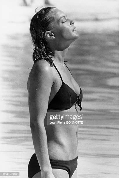 Retro Romy Schneider In France In August 1998 On set of 'La Piscine'