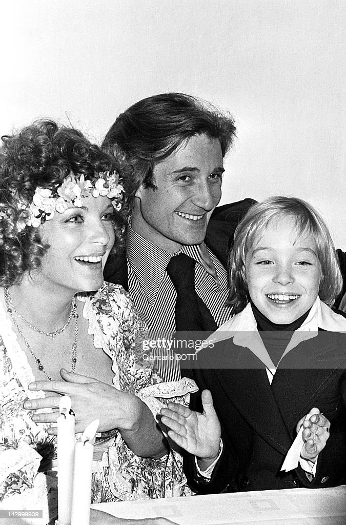 <a gi-track='captionPersonalityLinkClicked' href=/galleries/search?phrase=Romy+Schneider&family=editorial&specificpeople=672667 ng-click='$event.stopPropagation()'>Romy Schneider</a> with Daniel Biasini and David during their wedding on December 18, 1975 in France.