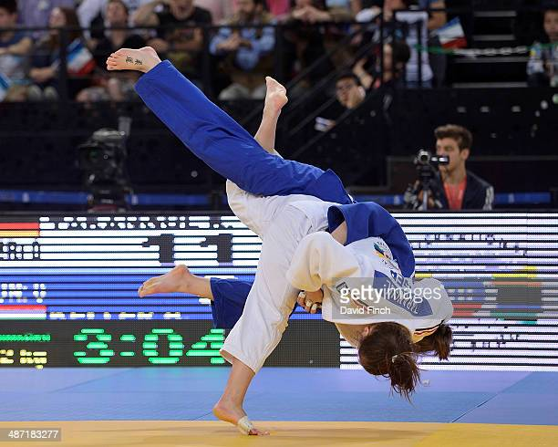 Romy Tarangul of Germany throws Vera Keller of Hungary for ippon helping Germany reach the Women's team final during the Montpellier European Team...