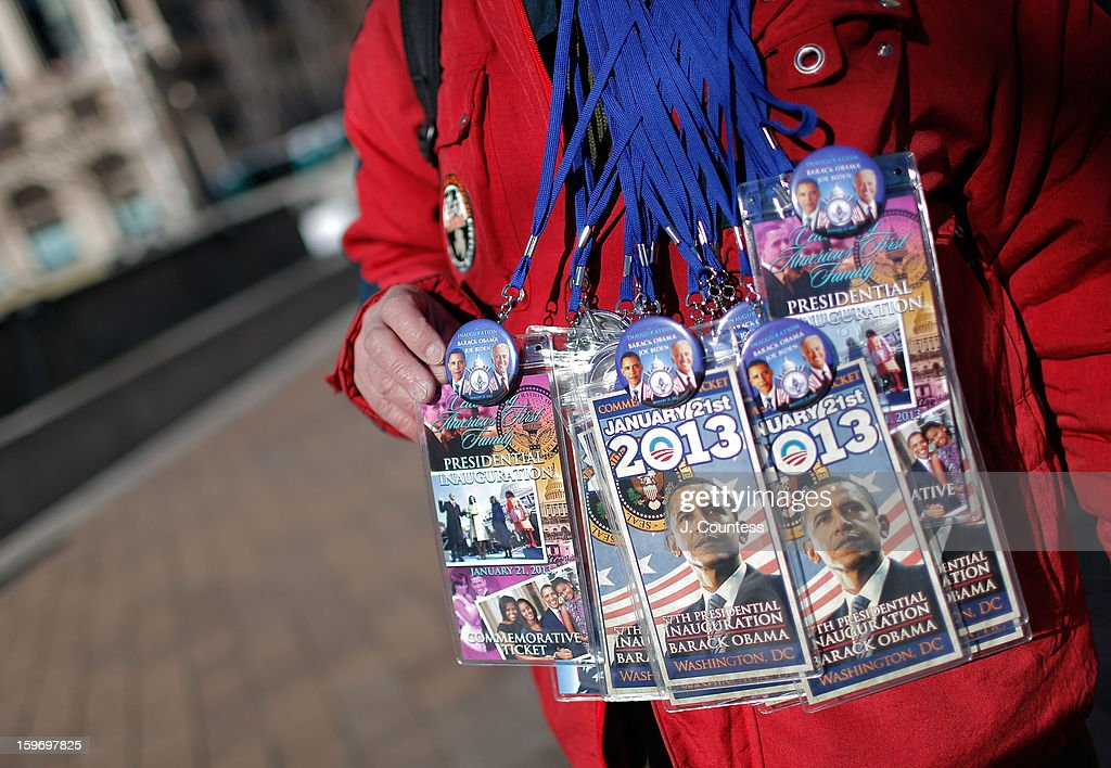 'Ron', a souvenier salesmen displays inauguration memorabillia on sale ahead of the 57th United States Presidential Inauguration on January 18, 2013 in Washington, D.C., United States.