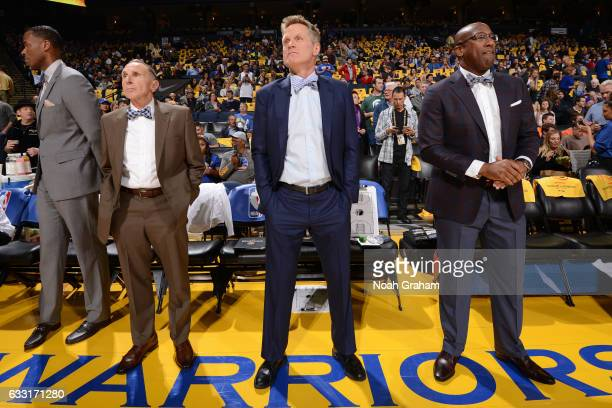 Ron Adams Steve Kerr and Mike Brown of the Golden State Warriors stand on the court before the game against the Los Angeles Clippers on January 28...