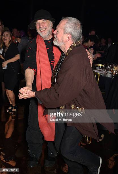Ron Arad and Terry Gilliam during The Roundhouse Gala held at the Roundhouse on March 19 2015 in London England