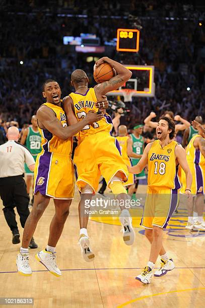 Ron Artest and Kobe Bryant of the Los Angeles Lakers celebrate following their victory over the Boston Celtics in Game Seven of the 2010 NBA Finals...