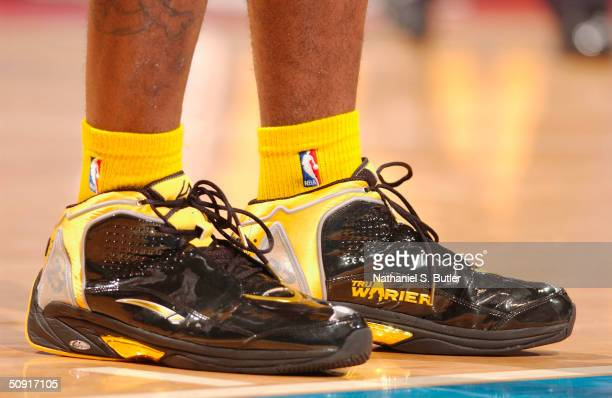 Ron Artest debuts his new LA Gear sneakers during game 6 of the Eastern Conference Finals on June 1 2004 at The Palace of Auburn Hills in Auburn...