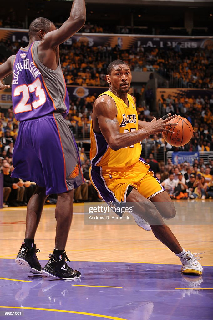 Ron Artest #37 of the Los Angeles Lakers dribbles against Jason Richardson #23 of the Phoenix Suns in Game One of the Western Conference Finals during the 2010 NBA Playoffs at Staples Center on May 17, 2010 in Los Angeles, California.