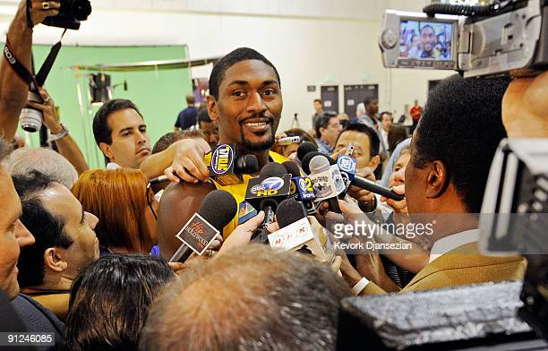 Ron Artest of the Los Angeles Lakers speaks to reporters during Lakers media day at the Lakers training facility on September 29 2009 in El Segundo...