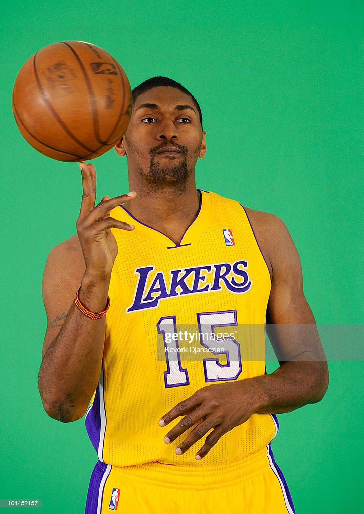 <a gi-track='captionPersonalityLinkClicked' href=/galleries/search?phrase=Ron+Artest&family=editorial&specificpeople=201763 ng-click='$event.stopPropagation()'>Ron Artest</a> #15 of the Los Angeles Lakers tapes a television segment during Media Day at the Toyota Center on September 25, 2010 in El Segundo, California.