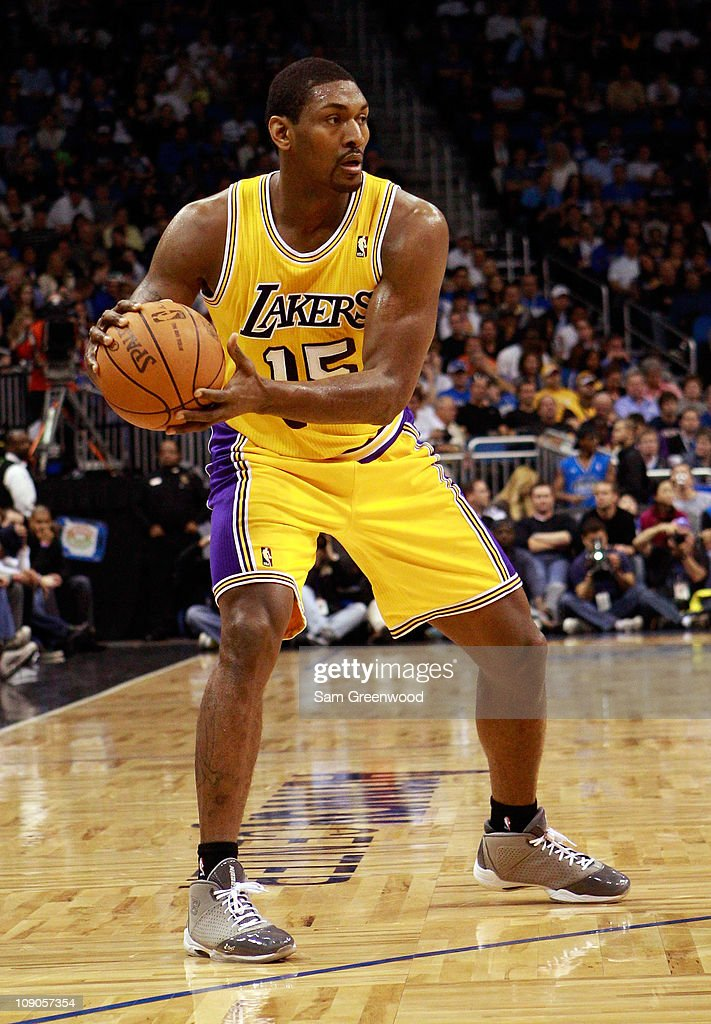 <a gi-track='captionPersonalityLinkClicked' href=/galleries/search?phrase=Ron+Artest&family=editorial&specificpeople=201763 ng-click='$event.stopPropagation()'>Ron Artest</a> #15 of the Los Angels Lakers looks to pass during the game against the Orlando Magic at Amway Arena on February 13, 2011 in Orlando, Florida.
