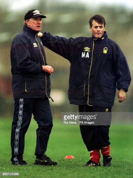 FEATURE Ron Atkinson's number two Peter Shreeves and coach Micky Adams during training in preparation for Nottingham Forest's game against Arsenal...