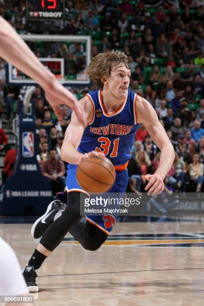 Ron Baker of the New York Knicks handles the ball against the Utah Jazz on March 22 2017 at vivintSmartHome Arena in Salt Lake City Utah NOTE TO USER...