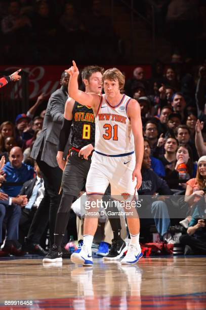 Ron Baker of the New York Knicks looks on against the Atlanta Hawks at Madison Square Garden on December 10 2017 in New York New York NOTE TO USER...