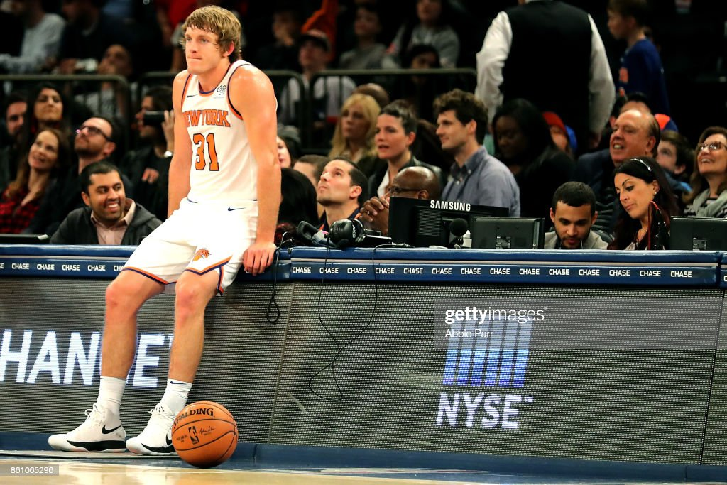 Ron Baker #31 of the New York Knicks reacts against the Washington Wizards in the second half during their game at Madison Square Garden on October 13, 2017 in New York City. User expressly acknowledges and agrees that, by downloading and or using this photograph, User is consenting to the terms and conditions of the Getty Images License Agreement.
